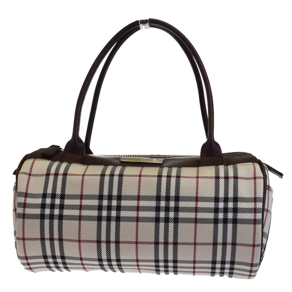 7f9c11b2952a Burberry Logos Nova Check Hand Pink Beige Brown Nylon Leather Tote ...