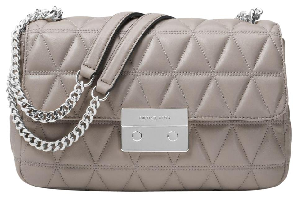 683850d92dc4 Michael Kors Sloan Large Quilted-leather Pearl Grey Leather Shoulder ...