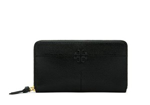 Tory Burch NEW TORY BURCH BLACK PATENT LEATHER ZIP CONTINENTAL WALLET NWT BAG