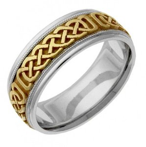 Apples of Gold Two-tone Celtic Weave Band Ring