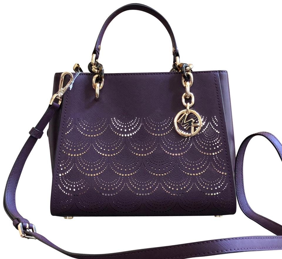 a6439a1845f6 Michael Kors Sofia Md Ns Chain Perforated Handbag Damson Saffiano Leather  Tote