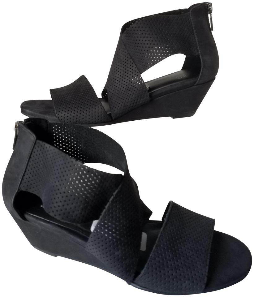 eb5a6d6c46c0 Eileen Fisher Black Womens Perforated Suede Low Wedge Kes 2 Sandals ...