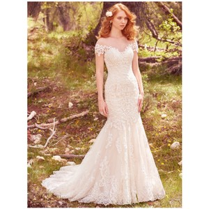 Maggie Sottero Ivory/Light Gold Marcy Gown 10 Feminine Wedding Dress Size 6 (S)