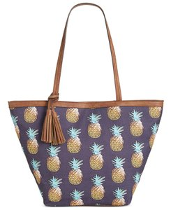 Style & Co Tropical Pineapple Printed Tote in Blue