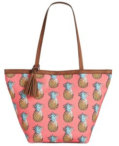 Style & Co Tropical Pineapple Printed Tote in Coral