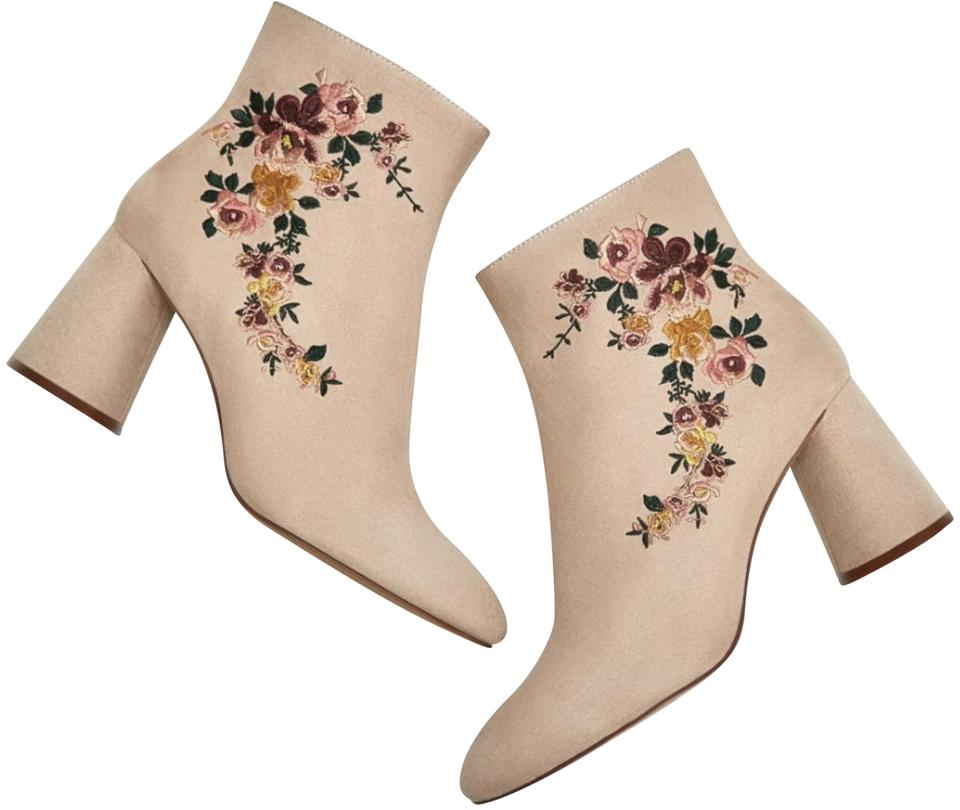 6938f51a3f Zara Nude/Beige Floral Embroidered High Heel Ankle Boots/Booties ...