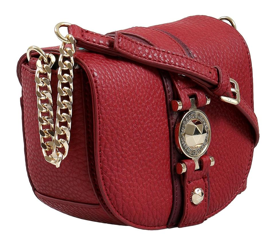 bb9f8643905b Versace Jeans Collection Small Red Faux Leather Shoulder Bag - Tradesy