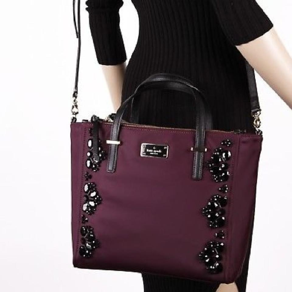 7d252bfaac03 Kate Spade Wilson Road Embellished Jewel Alyse Deep Plum Nylon Tote ...