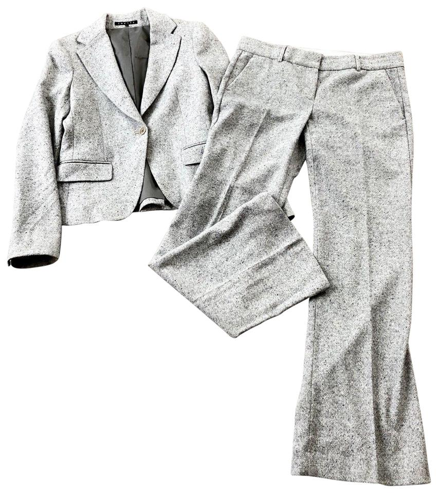 13b0cef7b95 Theory Gray Wool Blend Tweed 2 Piece Pant Suit Size 4 (S) - Tradesy