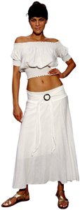 Lirome Summer Casual Chic Crop Top White
