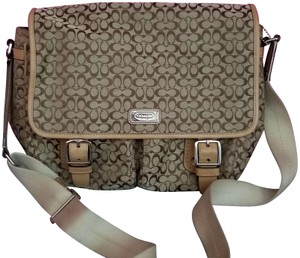 Coach Canvas Signature Monogram tan and light brown Messenger Bag
