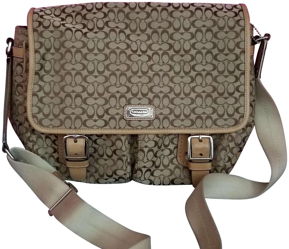 49acb6ad4b Coach Canvas Signature Monogram tan and light brown Messenger Bag Image 0  ...