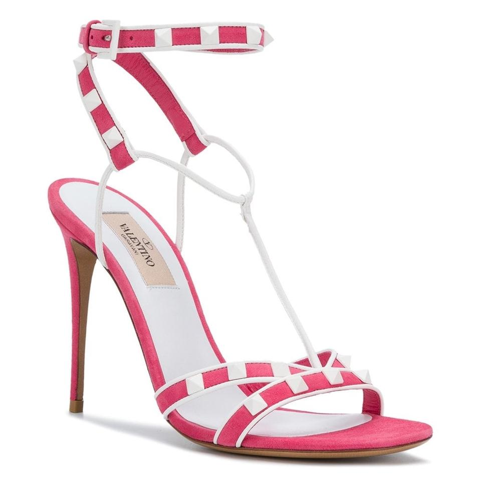 41ae67e9098049 Valentino Pink White Free Rockstud Suede Ankle Strap Sandals Size EU ...