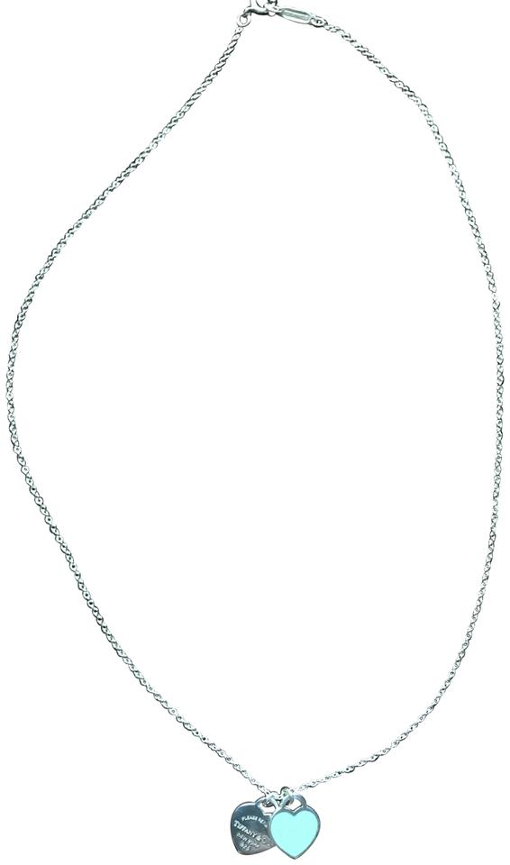 20c2d7907 Tiffany & Co. Silver Blue Mini Double Heart Tag Pendant; Return To  Collection Necklace