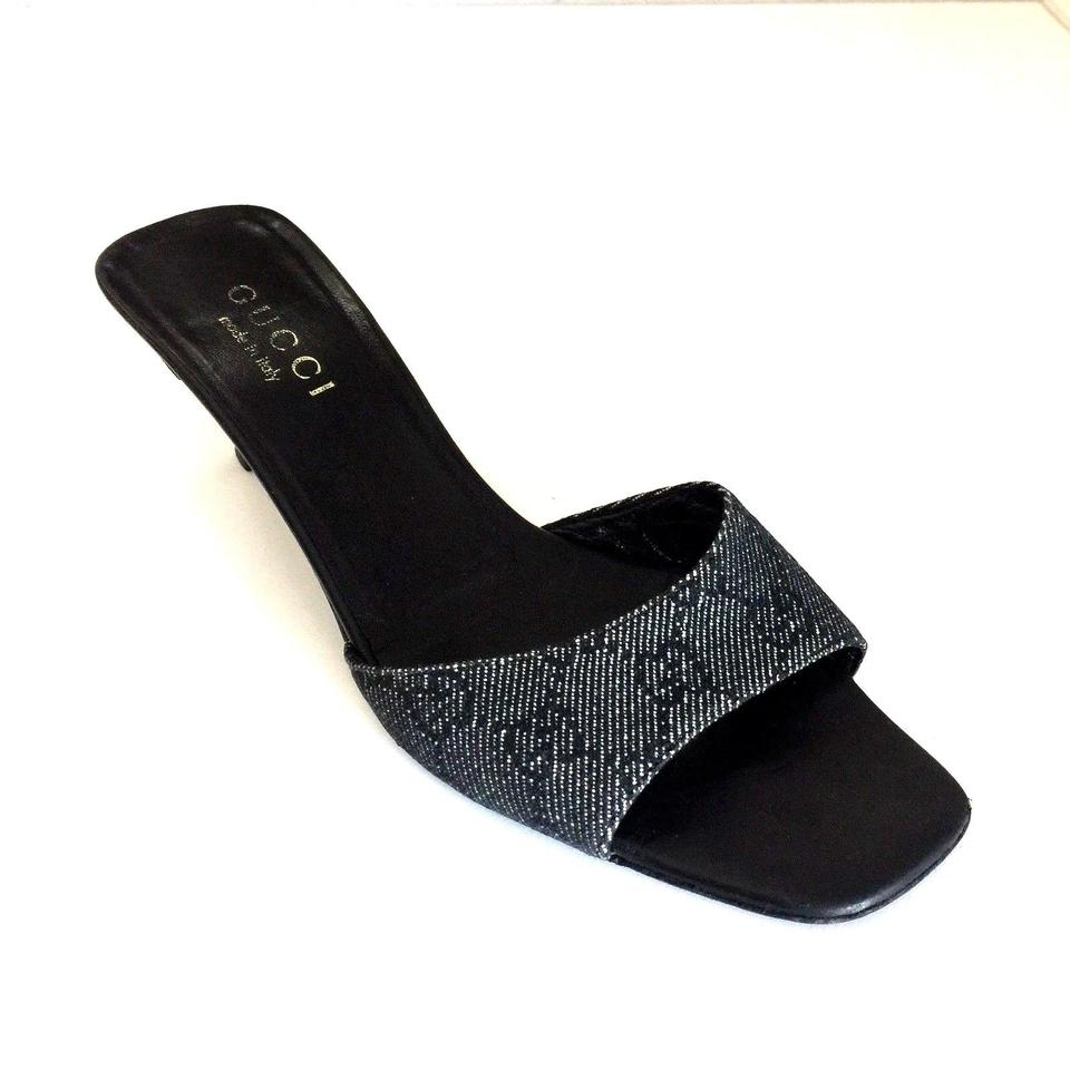 1e526020fc4 Gucci Black Mule Canvas Guccissima Monogram Open Toe M Slide Slip On ...