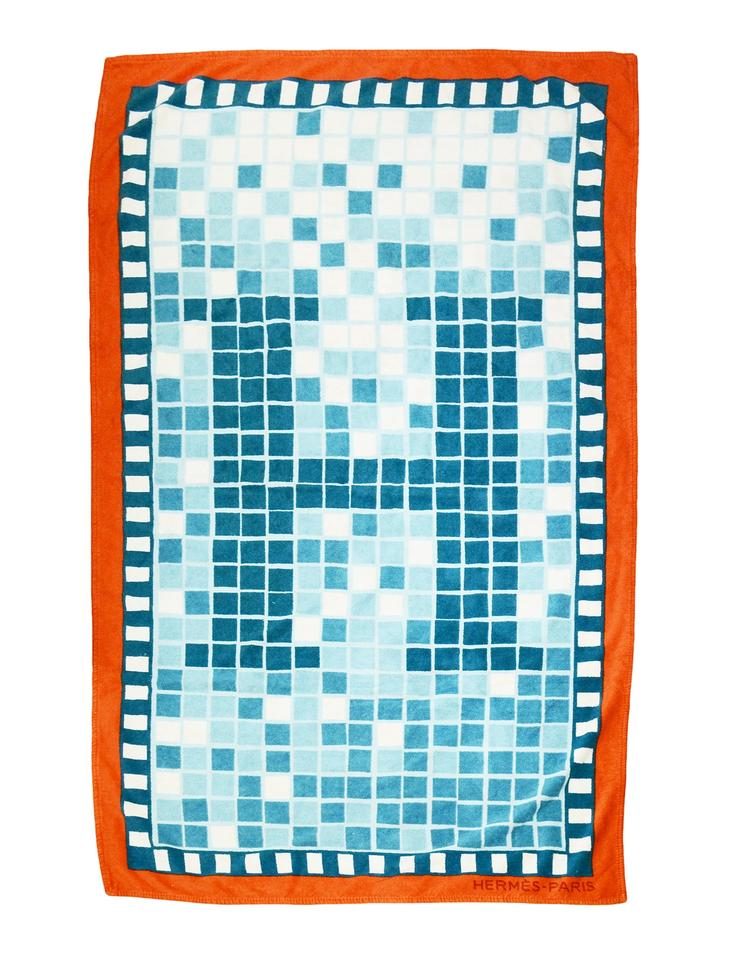 60383d91592 Hermès Blue Orange Mosaic H Print Terry Cloth Cotton Beach Towel ...