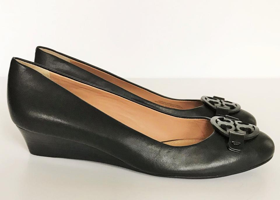 8ba713cbcf7e1a Tory Burch Black Miller Leather Wedges Size US 8 Regular (M