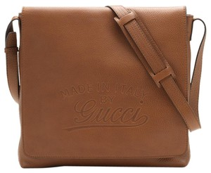Gucci Front Flap Large Flap Classic Leather Casual Tan Messenger Bag
