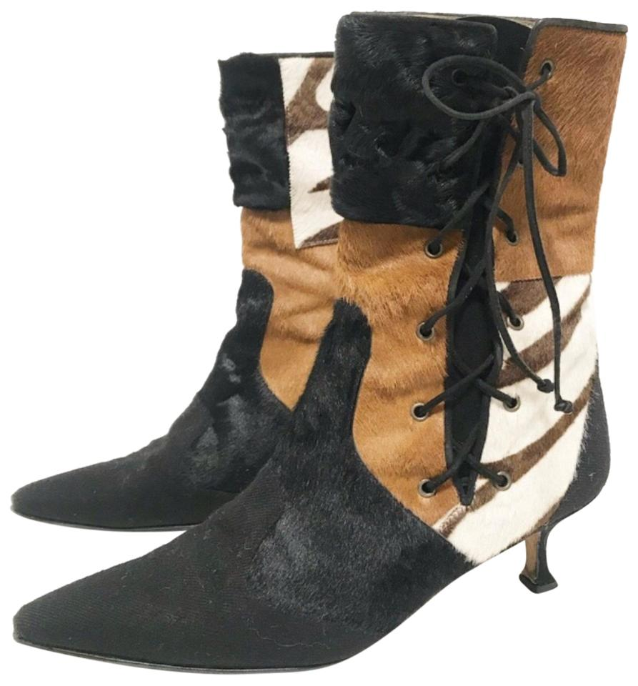Manolo Work Blahnik Brown Patch Work Manolo Pony Hair Boots/Booties 006ec2