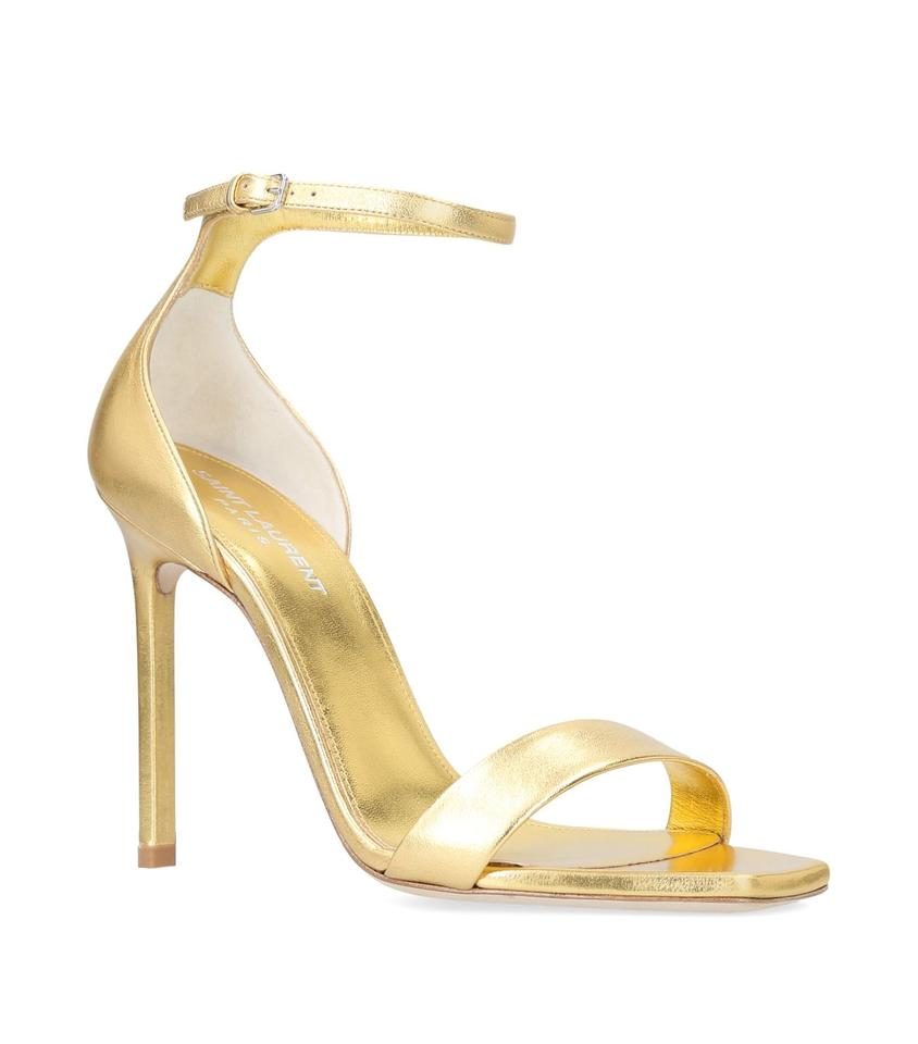 e7b1e864d2c Saint Laurent Stiletto Amber Tribute Ankle Strap Sandal gold Pumps Image 0  ...