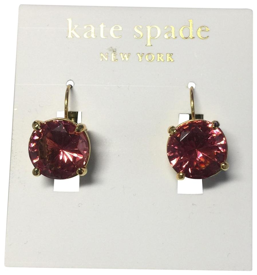 Kate Spade Pink Gold Round Leverback Earrings