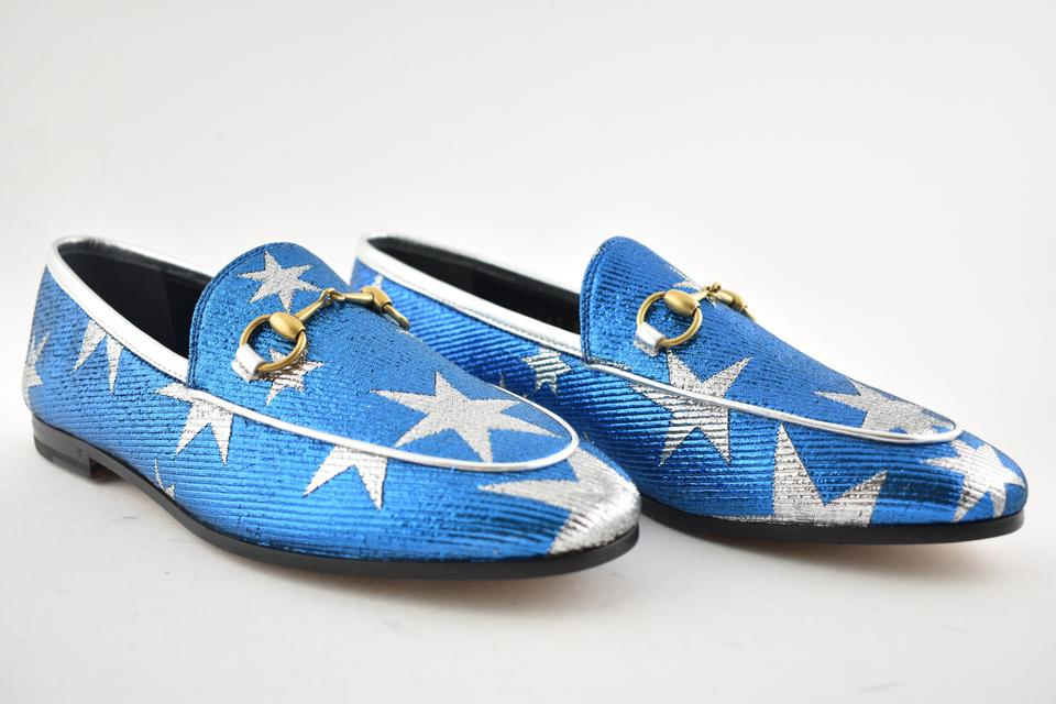 c7a97c8e8c0 Gucci Blue New Jordaan Bluette Silver Star Princetown Loafer Mule ...