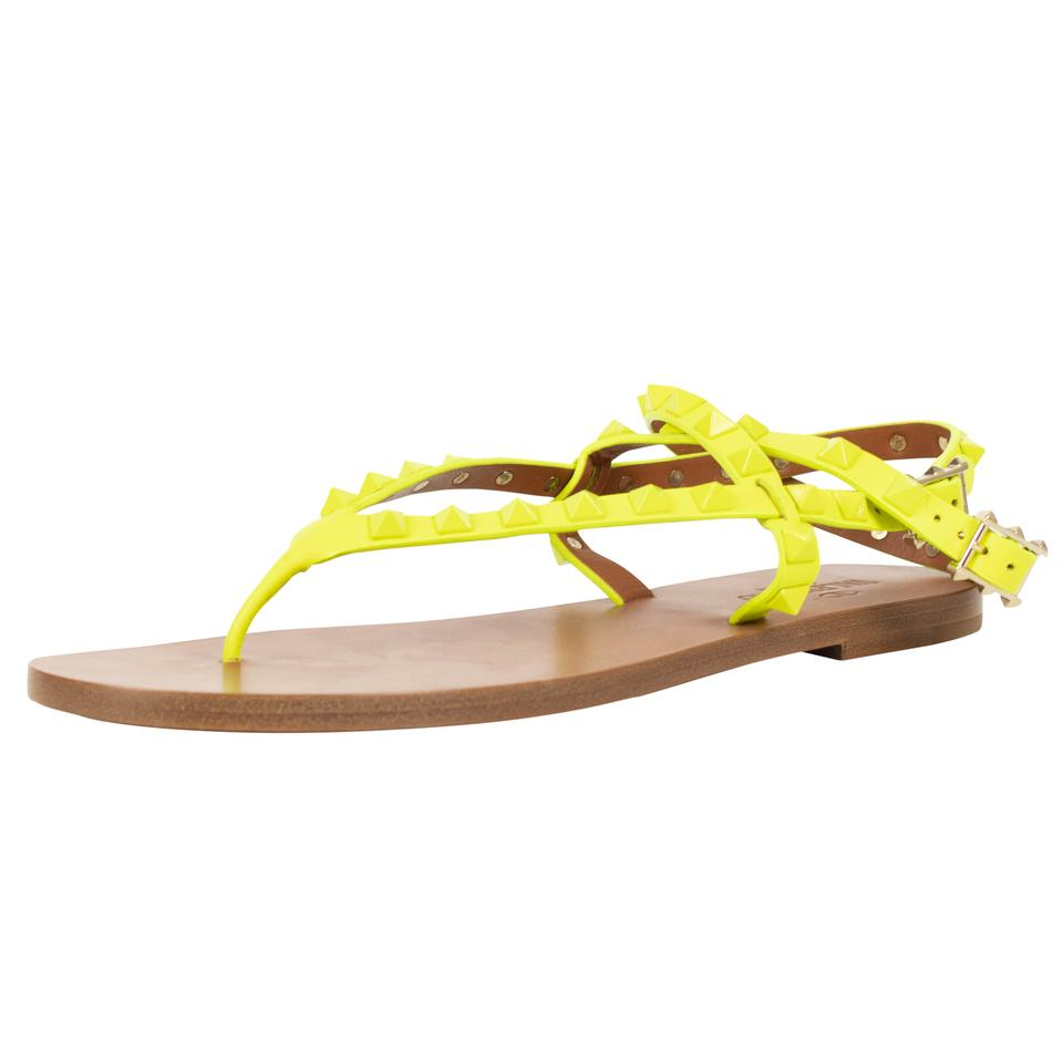7975d0ddac0e Valentino Yellow Rockstud Strappy Leather Flats Sandals Size US 8.5 ...