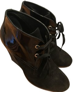 Hogan Suede Patent Leather Wedge Black Boots
