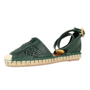 Valentino Espadrille Ankle Strap Weaved Gold Buckle Hunter Green Flats
