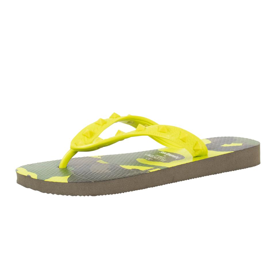 2866a6508 Valentino Yellow Camouflage Rockstud Flip Flops Flats Sandals Size ...