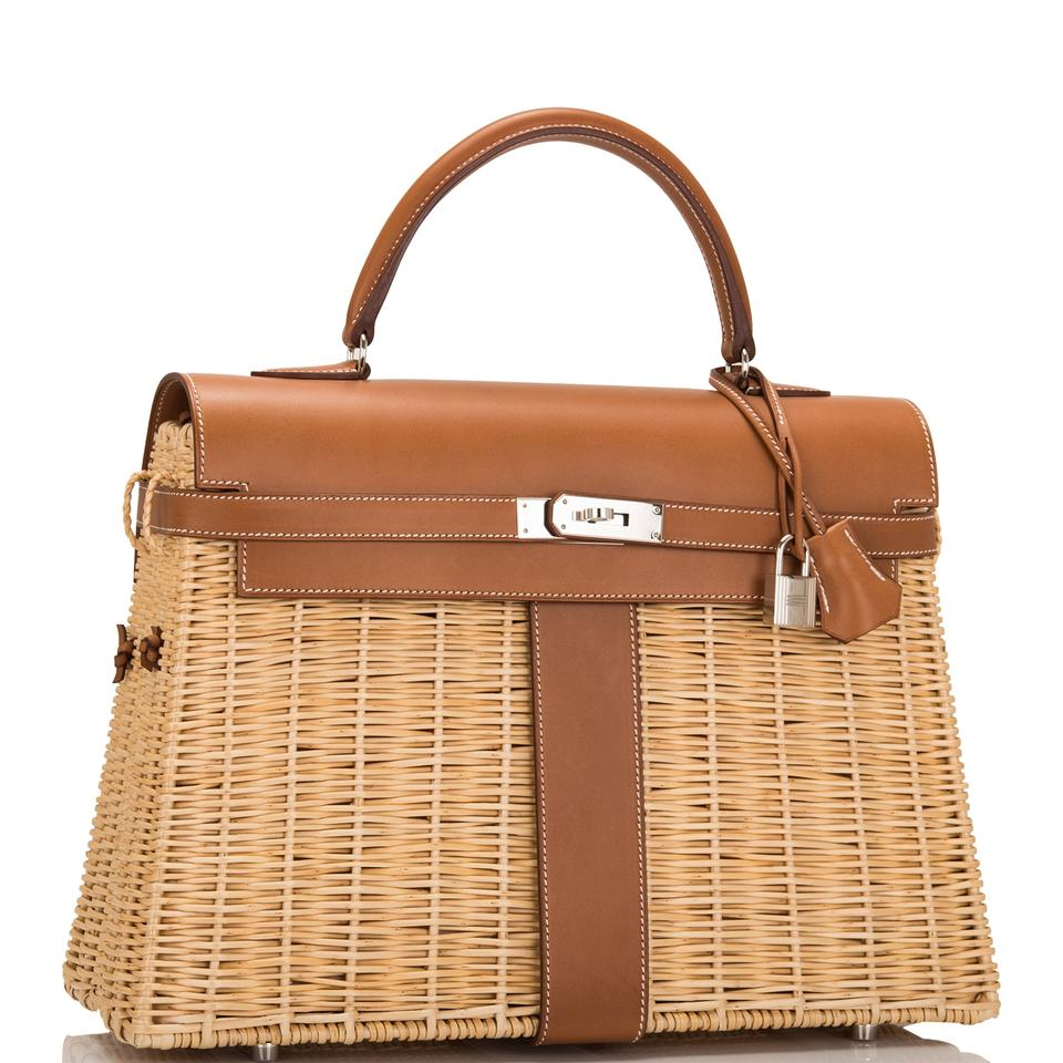 f8e10b2054 Hermès Kelly Wicker and Barenia Picnic 35cm Phw Brown Leather ...