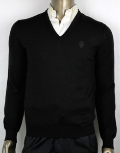 Gucci Black Hysteria XL Men's Wool V-neck Sweater with Crest 438136 Groomsman Gift