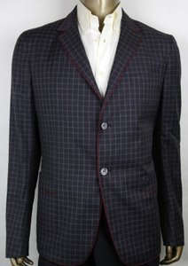 Gucci Dark Blue/Burgundy/Gray Men's Wool Gauze Jacket 2 Buttons It 52r/Us 42r 429320 4675 Groomsman Gift