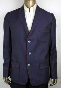 Gucci Blue Wool/Mohair Jacket with Red Trim 3 Buttons It 48r/Us 38r 428198 4575 Groomsman Gift