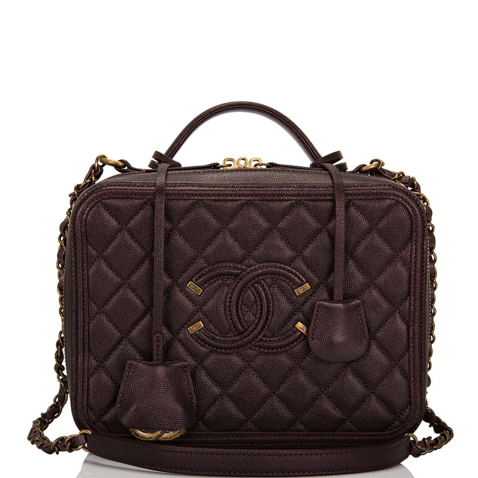 634d5b1e63f5b6 Chanel Vanity Case Burgundy Iridescent Caviar Large Filigree Red ...