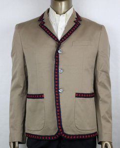 Gucci Brown/Khaki Jacket with Blue/Red Crochet Trim 3 Buttons It 46r/Us 36r 419939 2840 Groomsman Gift