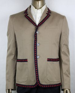 Gucci Brown/Khaki Jacket with Blue/Red Crochet Trim 3 Buttons It 52r/Us 42r 419939 2840 Groomsman Gift