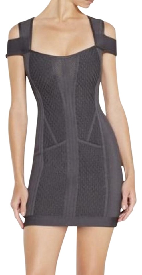 023910b54d49d Hervé Leger Gunmetal Evanne Multi-texture Mesh Short Night Out Dress ...