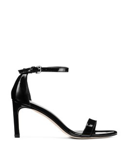 Stuart Weitzman Leather Ankle Strap Heels Black Patent Sandals
