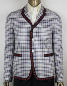 Gucci Blue/Red Checkered Cotton Twill Jacket 3 Buttons It 48r/Us 38r 409698 4682 Groomsman Gift