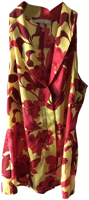 Item - Red and Yellow Tropical Collared Button Down Blouse Size 4 (S)