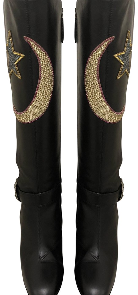 0e372b1e7 Gucci Black Dionysus Star and Heart Boots Booties Size US 8.5 ...