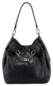 Tory Burch Leather Embossed Animal Print Silver Hardware Chain Logo Monogram Natalya Hobo Bag