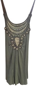 Design History Macrame Front Bib A-line Top Army green