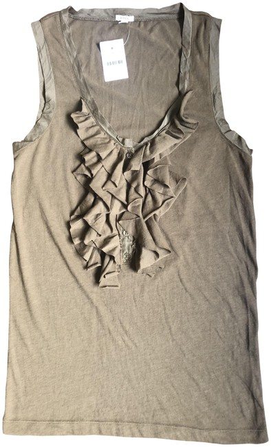 Item - Olive Cascading Sleeveless Flutter Shell Tank Top/Cami Size 4 (S)