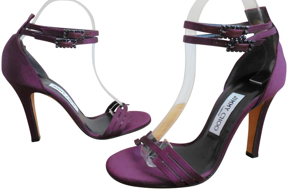 Jimmy Choo Abergine Purple Satin ~ Ankle Black Crystal Buckle Double Ankle ~ Straps Sandals 4be1c7