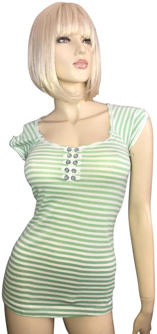 Item - Striped Casual Green/White Top