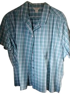 CJ Banks Button Front Short Sleeved Straight Hem Top Blue and white