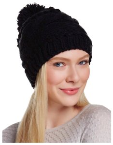 Free Press LUXE BLACK POM POM RIBBED KNIT WEAVE BEANIE HAT