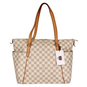 Louis Vuitton Totally Canvas Damier Canvas Azur Tote in White